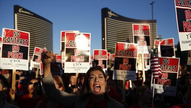 Culinary Union members protest outside of the Trump International Hotel in October. (John Locher / Associated Press)