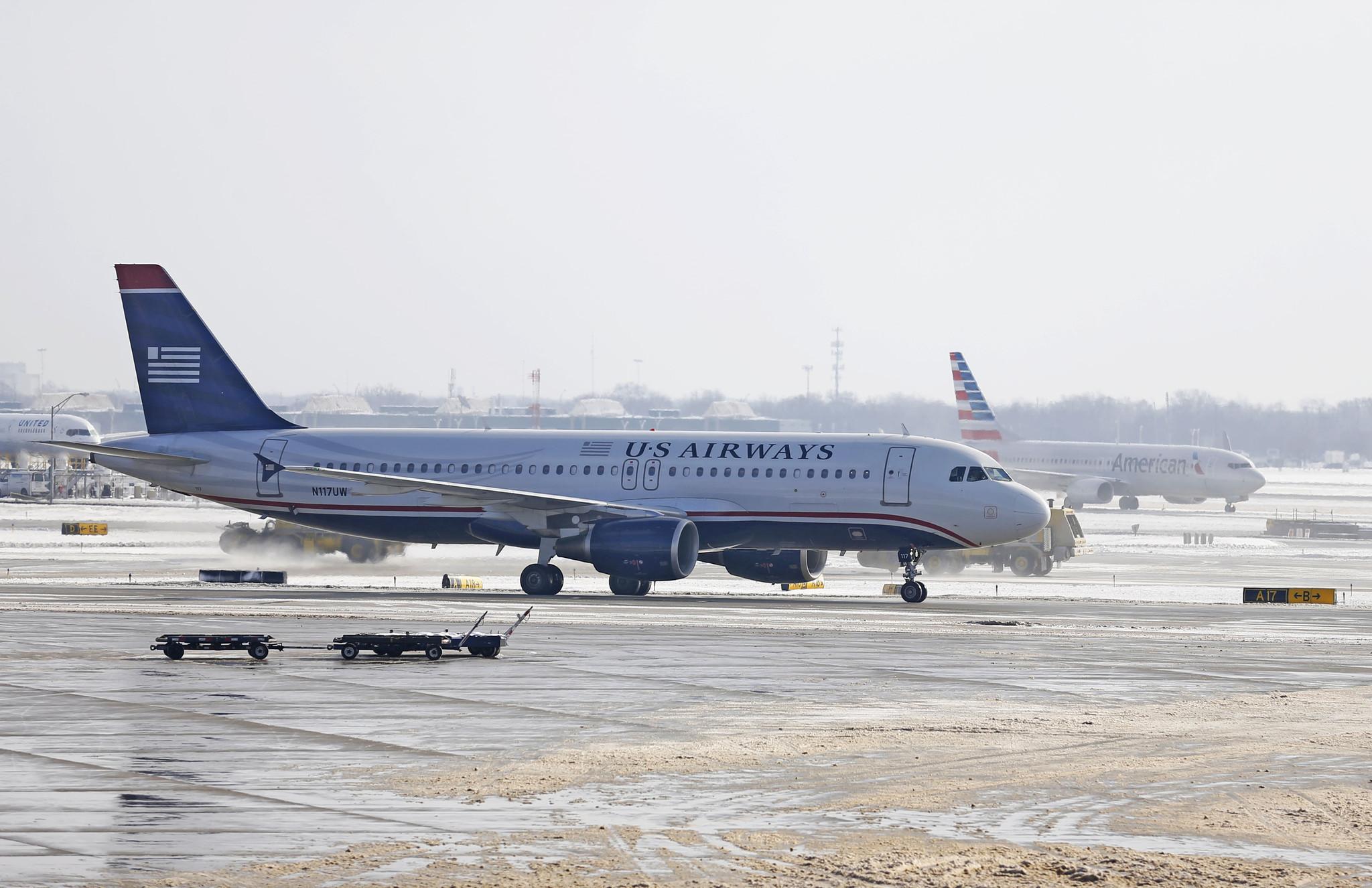 Final Us Airways Flight Taking Off From Philadelphia The