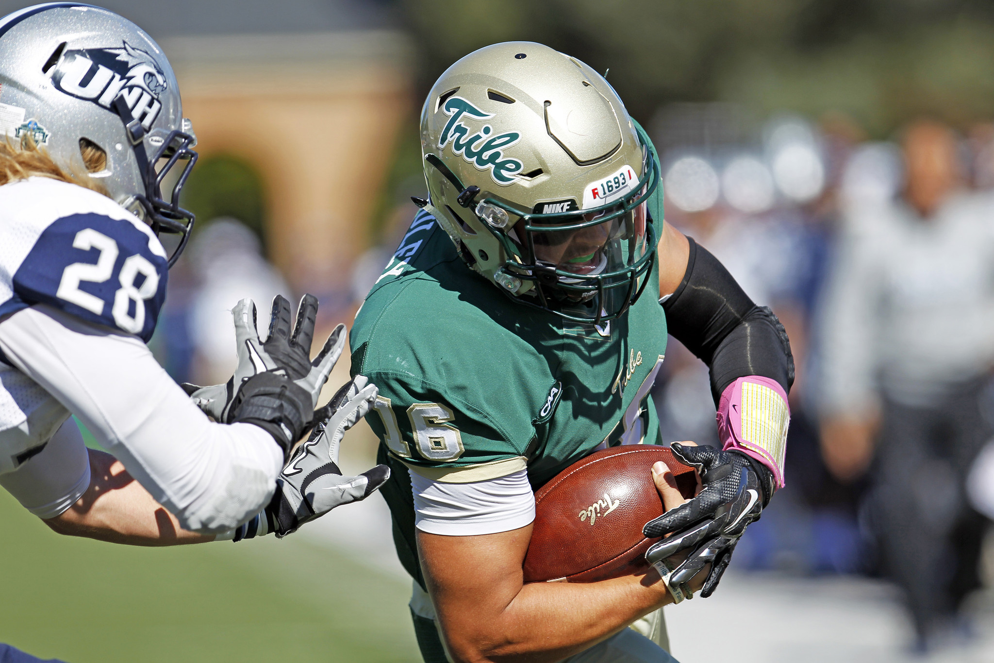 After some tough blows early, William and Mary responds and blows out New Hampshire 34-18. - Daily Press