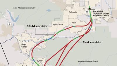 Proposed Burbank-to-Palmdale routes