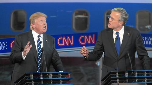 Donald Trump, left, and former Florida Gov. Jeb Bush. (Robert Gauthier / Los Angeles Times)