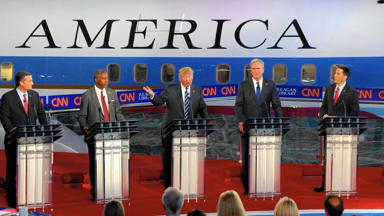 Republican candidates debate last month at the Reagan Presidential Library in Simi Valley. (Robert Gauthier / Los Angeles Times)
