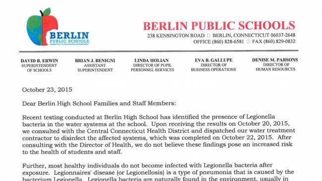 PDF: Berlin Letter On Legionella Bacteria - Hartford Courant