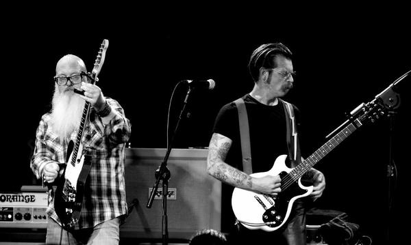 Dave Catching, left, and Jesse Hughes of Eagles of Death Metal perform in Los Angeles in October.  (Kevin Winter/Getty Images)