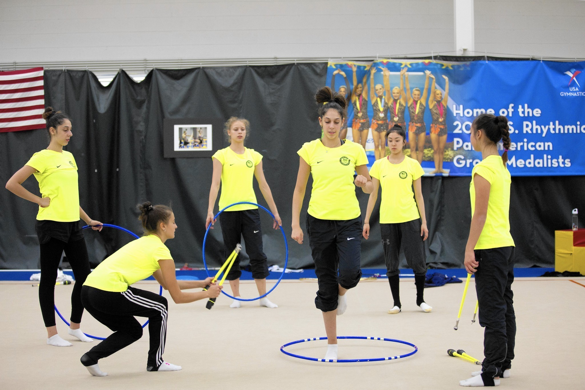 local rhythmic gymnasts practice 7 hours daily to prepare
