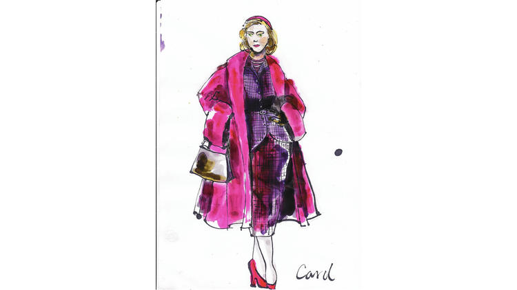 """A sketch shows the idea for the style of """"Carol's"""" title character. (Weinstein Co.)"""