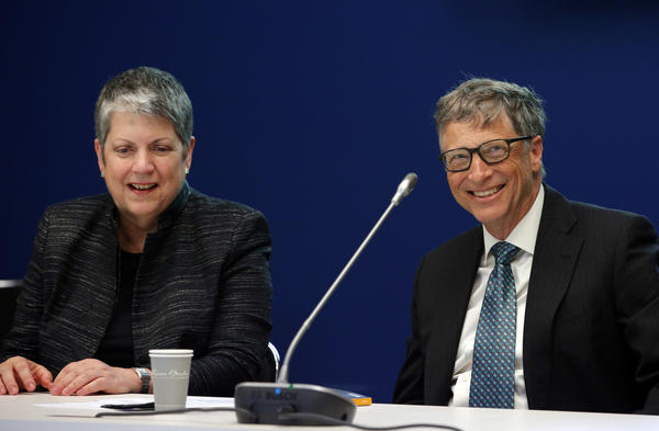 Microsoft co-founder and philanthropist Bill Gates  and University of California President Janet Napolitano attend the Paris climate summit. (Christophe Ena / Associated Press)