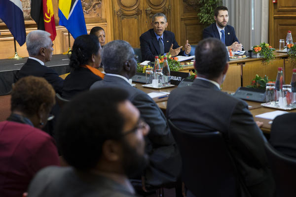 President Obama speaks during a Dec. 1 Paris meeting with heads of state from small island nations most at risk from the harmful effects of climate change. (Associated Press)