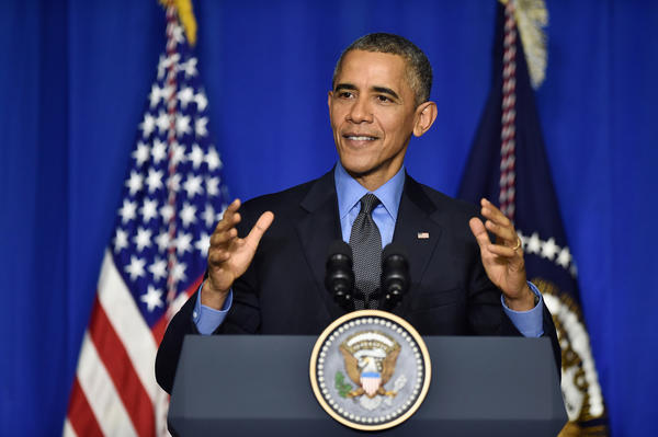 President Barack Obama speaks in Paris Tuesday. (Getty Images)