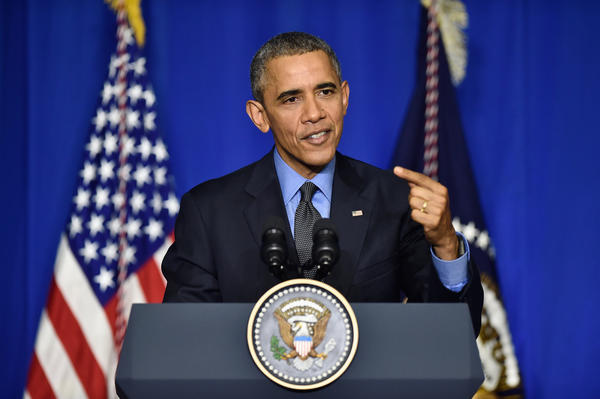 President Obama speaks at a news conference in Paris this morning. (Getty Images)