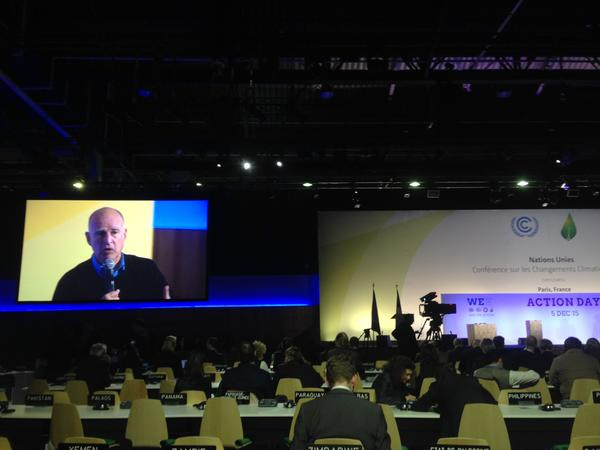 Gov. Jerry Brown speaks at a panel at the United Nations climate summit. (Chris Megerian / Los Angeles Times)