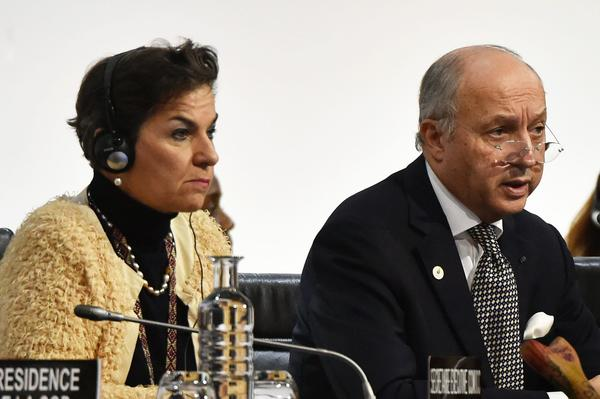 United Nations climate chief Christiana Figueres and French Foreign Minister Laurent Fabius (Dominique Faget/AFP/Getty Images)