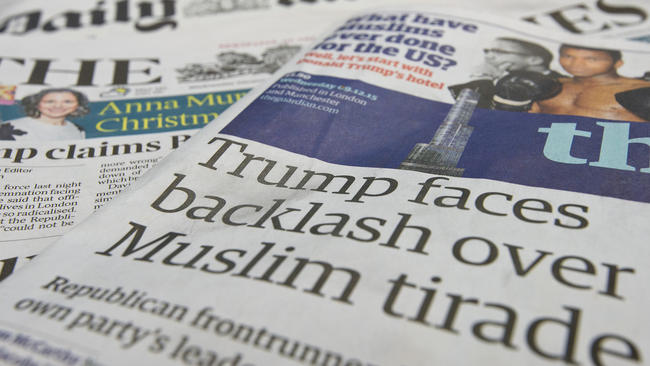 The front pages of British national newspapers on Dec. 9 showed the reaction to comments by Republican presidential candidate Donald Trump. (Ben Pruchnie / Getty Images)