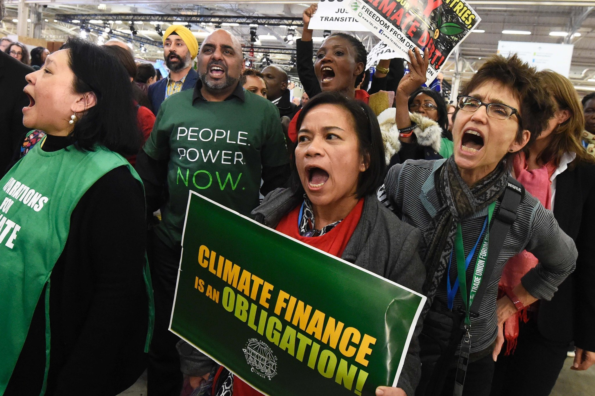 Demonstrators during the United Nations conference on climate change at Le Bourget, on the outskirts of Paris, on Dec. 9, 2015.    (Dominique Faget /AFP/Getty Images)