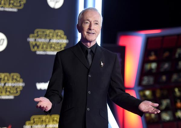 Anthony Daniels, the human inside the C-3PO suit, arrives at the world premiere of