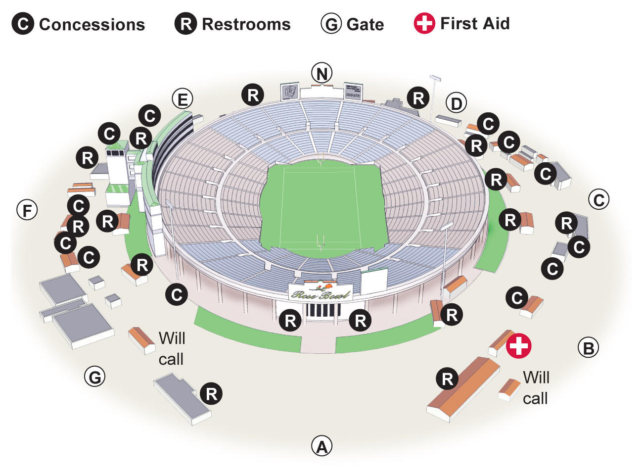 Rose Bowl Parking Map Rose Bowl game information   Los Angeles Times Rose Bowl Parking Map