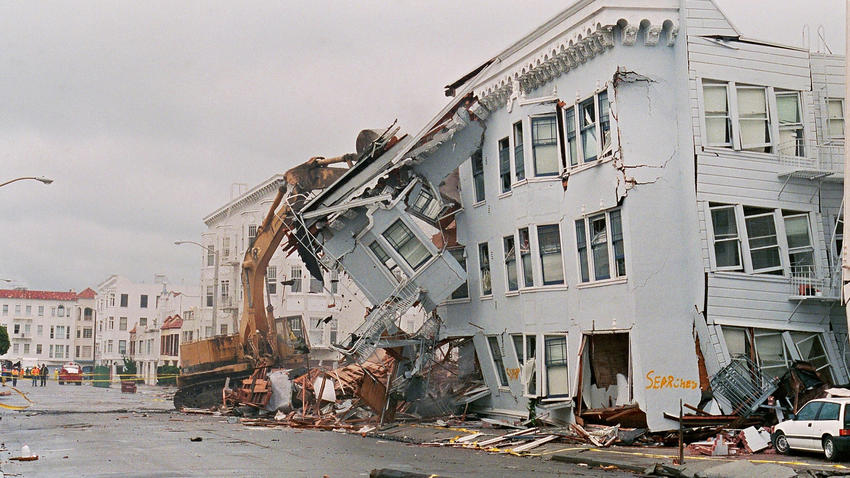 A damaged apartment building is seen in San Francisco's Marina District after the 1989 Loma Prieta earthquake.