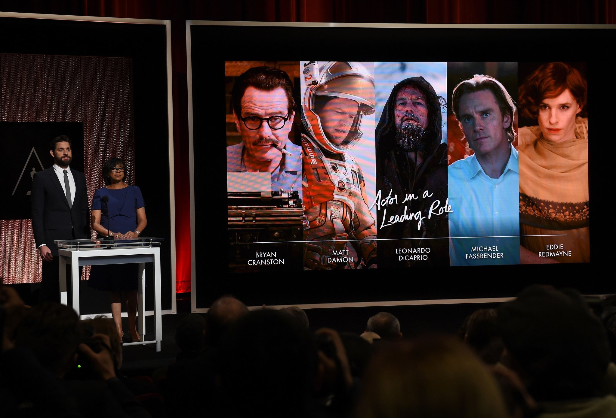Image Result For A Screen Showing The Oscar Nominees For Best Actor Is Announced By Actor John Krasinski And