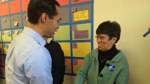 Julian Castro greets Sister Irene Muñoz, a Hillary Clinton volunteer, at a campaign event in Ottumwa, Iowa, on Sunday. (Kate Linthicum / Los Angeles Times)