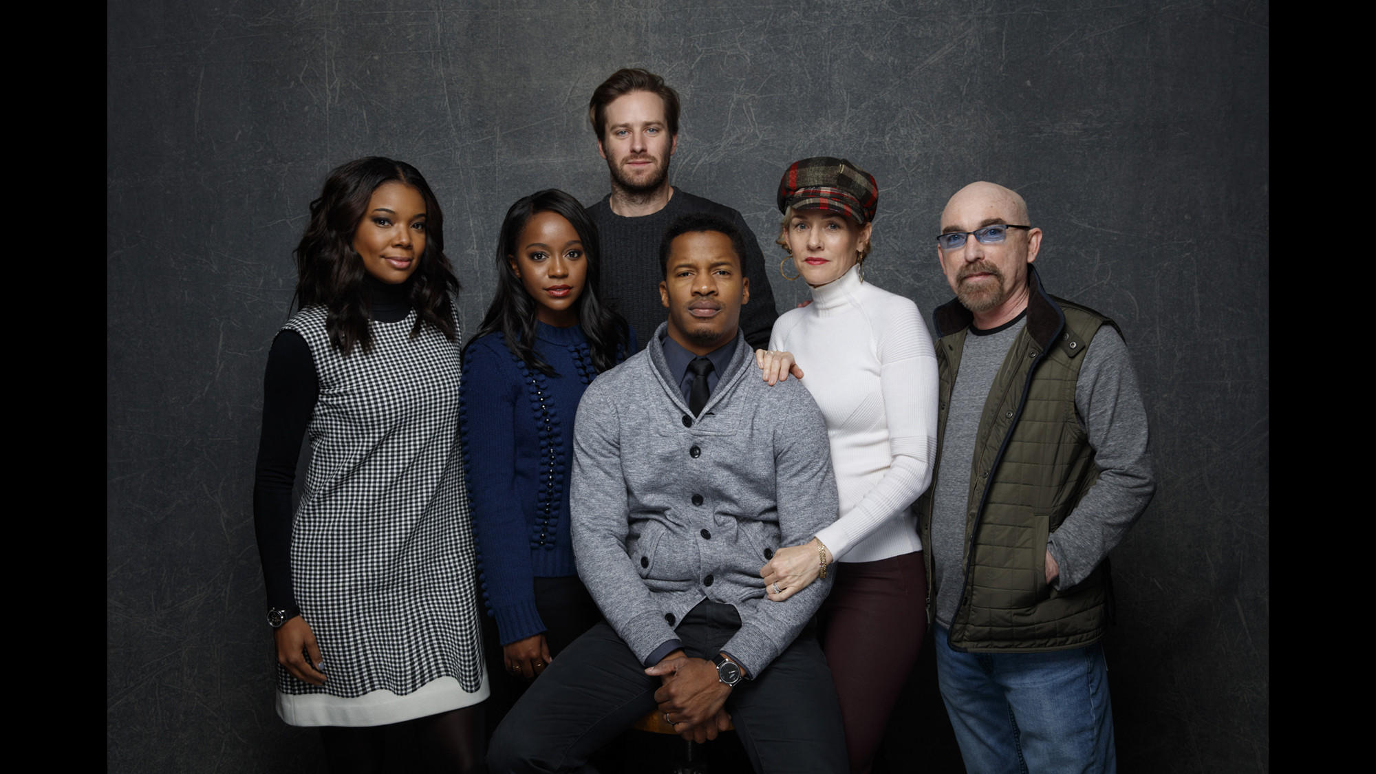 """Gabrielle Union, left, Aja Naomi King, Armie Hammer, director Nate Parker, Penelope Ann Miller and Jackie Earle Haley from the film """"The Birth of A Nation."""" (Jay L. Clendenin / Los Angeles Times)"""