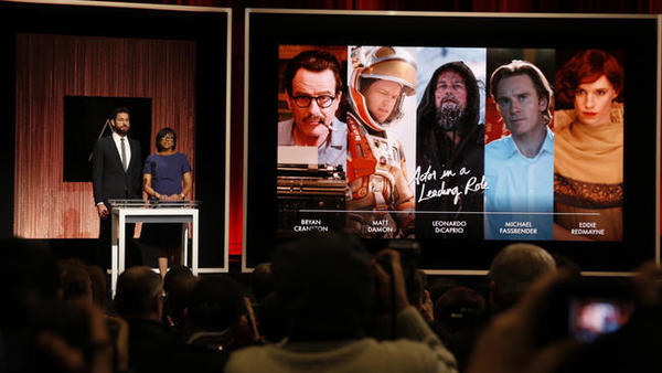 Actor John Krasinski, left, and Academy of Motion Picture Arts and Sciences President Cheryl Boone Isaacs are seen announcing nominees for the lead actor Oscar earlier this month. (Al Seib / Los Angeles Times)