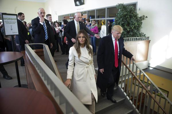 Donald Trump and his wife, Melania, arrive Sunday at First Christian Church in Council Bluffs, Iowa. (Jae C. Hong / Associated Press)
