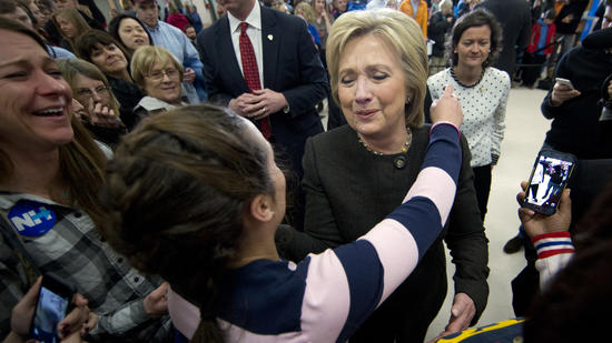 Hillary Clinton campaigns in Derry, N.H. (Matt Rourke)