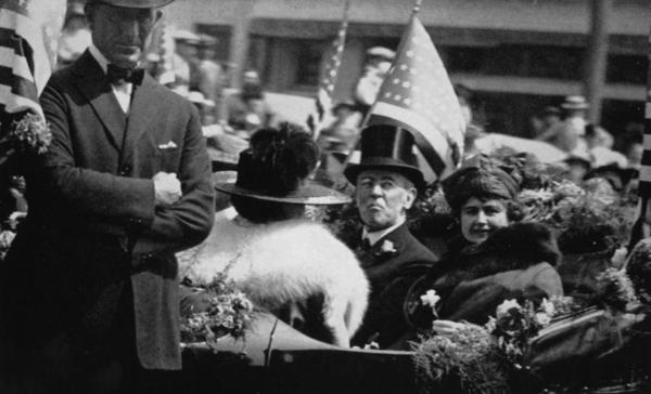 President Wilson and his wife, Edith, take part in a parade through downtown Los Angeles in 1919.
