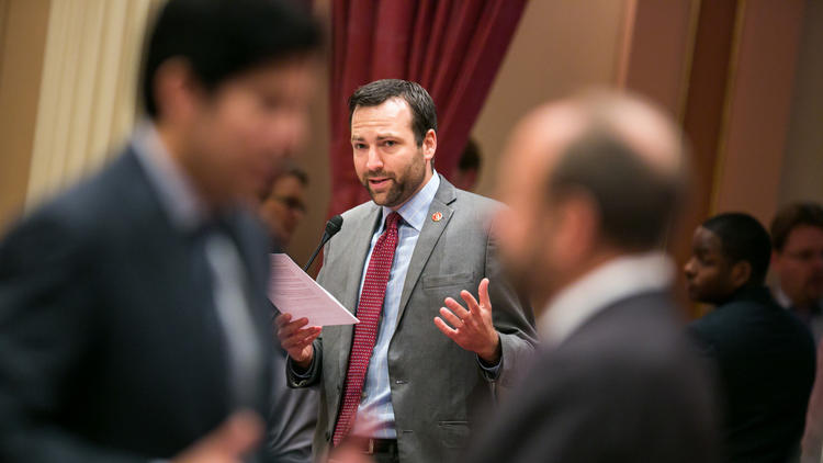 State Sen. Benjamin Allen (D-Santa Monica) speaks on the Senate floor in Sacramento.