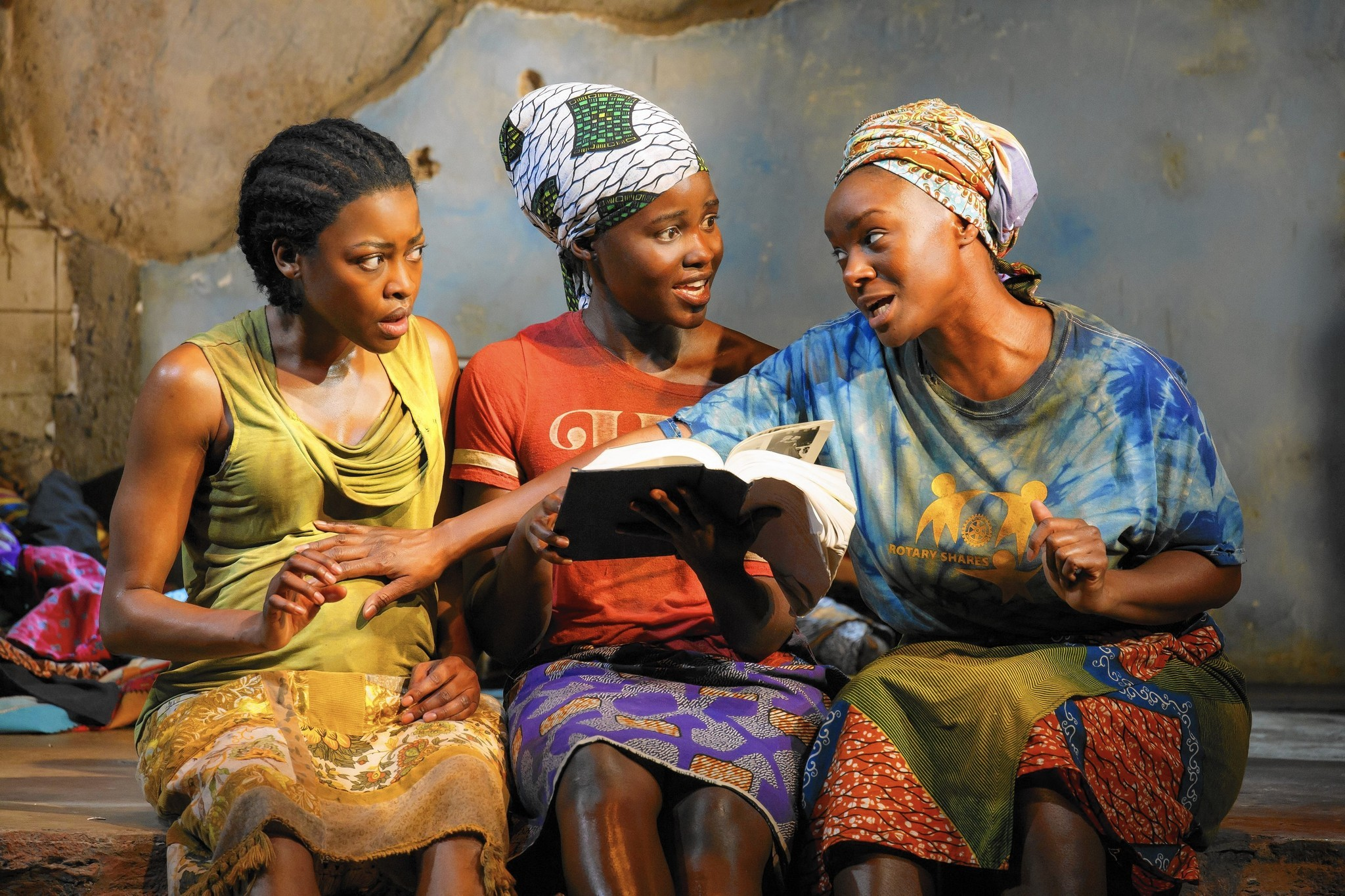 """Pascale Armand, left, Lupita Nyong'o and Saycon Sengbloh in Danai Gurira's """"Eclipsed,"""" directed by Liesl Tommy. (Joan Marcus)"""