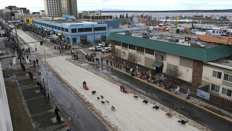 Iditarod dog sled race is underway, with help of snow delivered via train