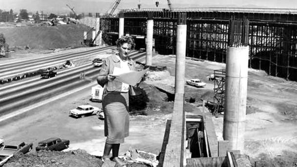 Marilyn Reece works on the 405-10 interchange, which she designed.