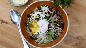 Barley porridge with mushrooms, herbs and poached egg
