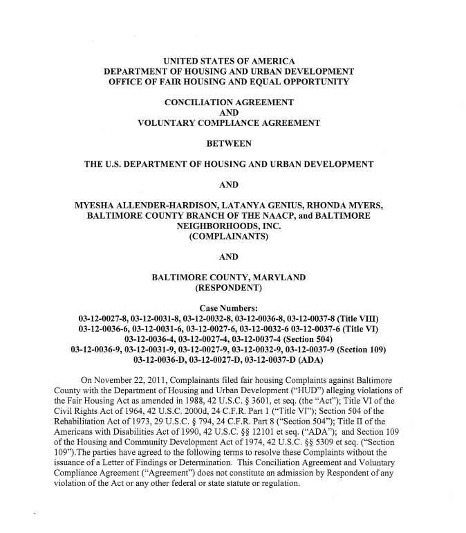 Document Baltimore County Hud Agreement Baltimore Sun