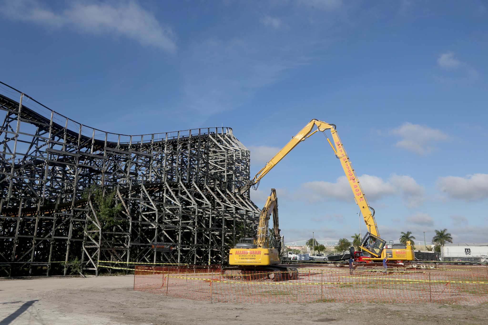 Demolition Begins For Hurricane Roller Coaster In Dania
