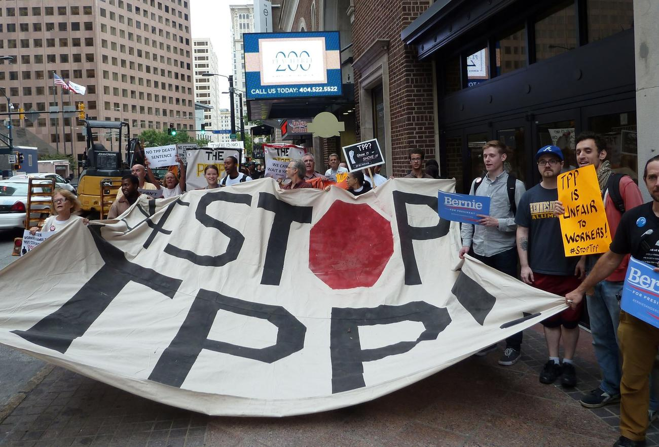 Protesters call for the rejection of the proposed Trans-Pacific Partnership in Atlanta in October.