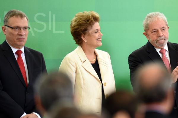 Brazilian President Dilma Rousseff and former president Luiz Inacio Lula da Silva, right, during Thursday's swearing-in ceremony for new Justice Minister Eugenio Arago.