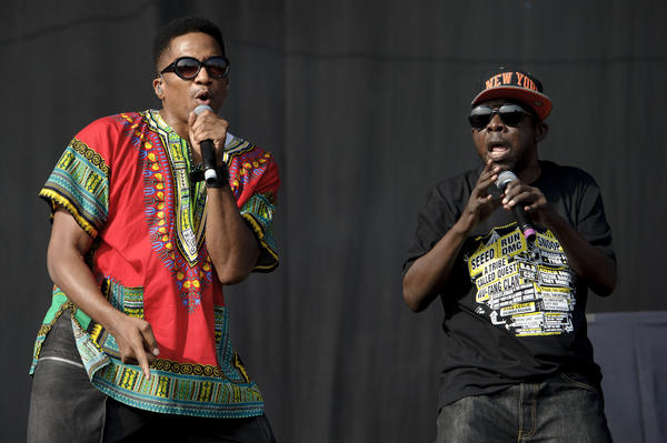Q-Tip, left, and Phife Dawg from A Tribe Called Quest perform during the Wireless Festival at the Queen Elizabeth Olympic Park in London.