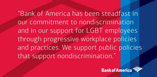 Charlotte-based Bank of America issued this statement, but has been silent on concrete steps it will take to oppose the N.C. law.
