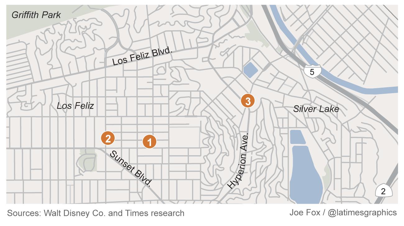 Silverlake Los Angeles Map.Map See Where Walt Disney Started In Los Angeles Los Angeles Times