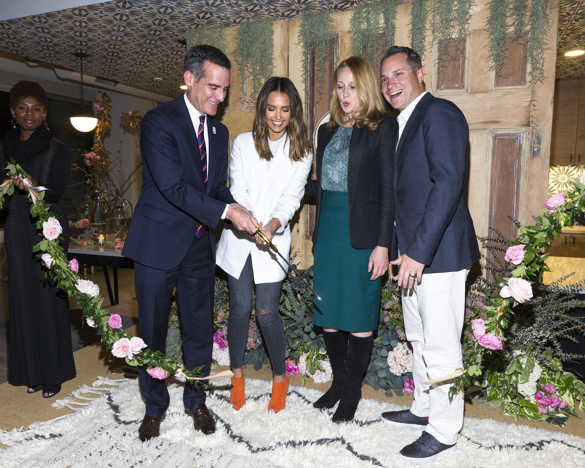 L.A. Mayor Eric Garcetti, left, Honest Co. founder Jessica Alba, L.A. first lady Amy Wakeland and Honest President Sean Kane at the ribbon-cutting for the company's new headquarters in Playa Vista.