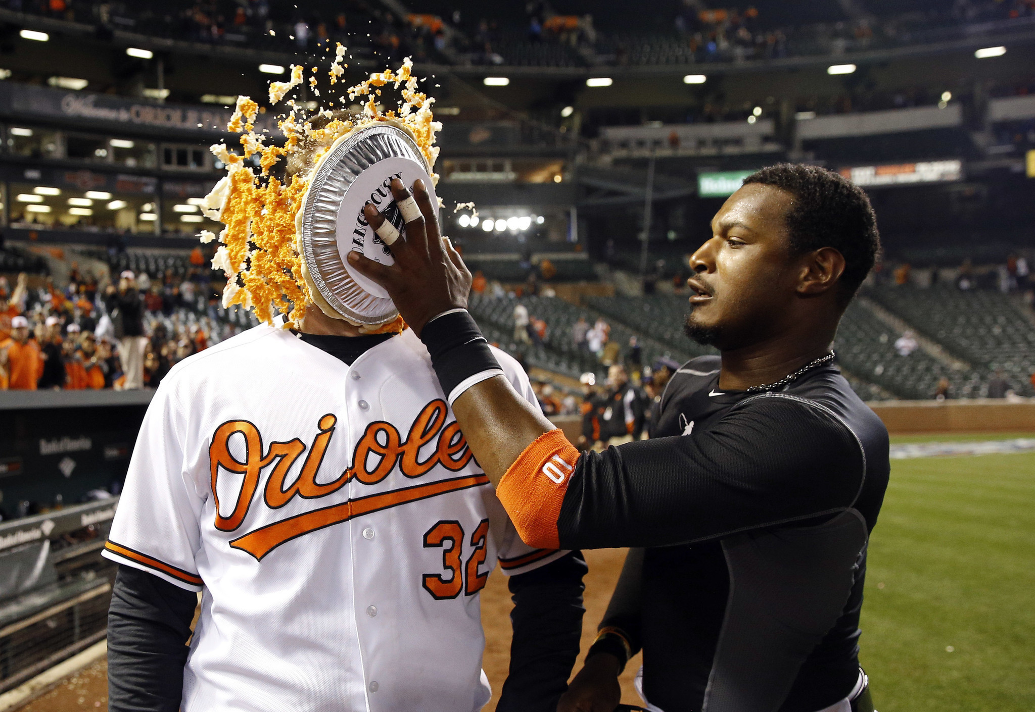 736b7d5b8 Adam Jones resurrects Orioles  pie celebration on Opening Day ...