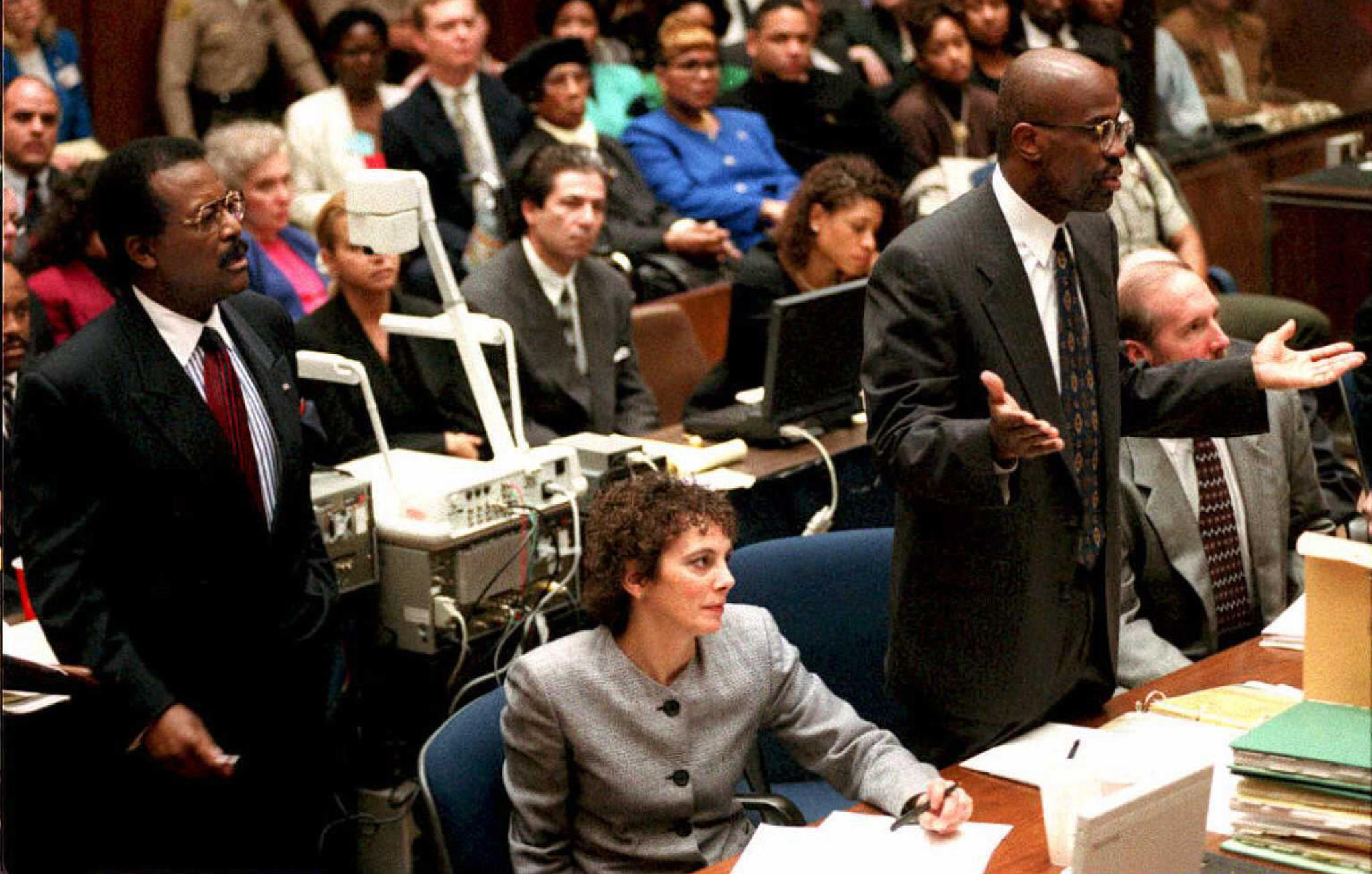 Johnnie Cochran, left, Marcia Clark and Christopher Darden during opening arguments.