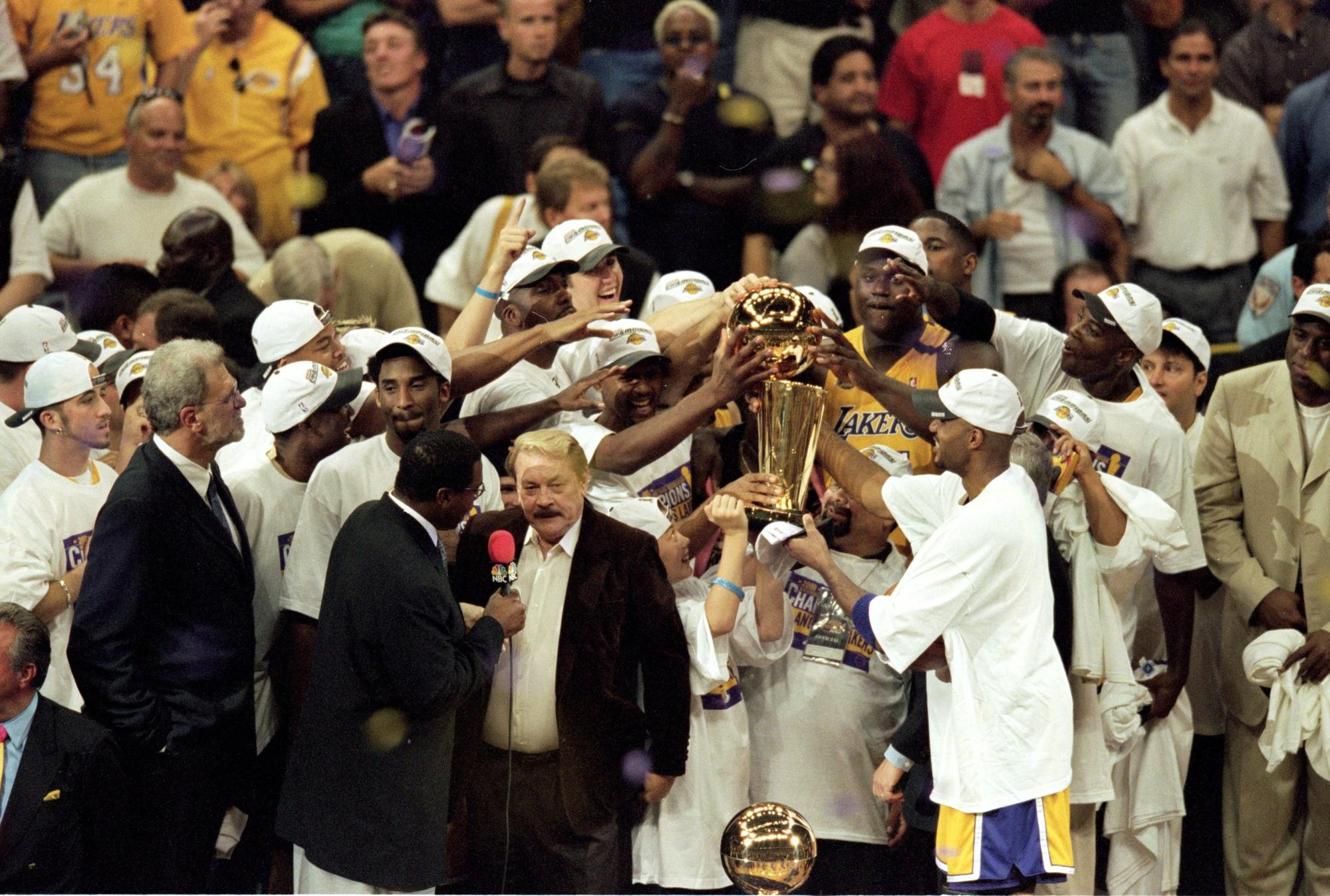 Jerry Buss is interviewed after his team won the 1999-2000 NBA Finals