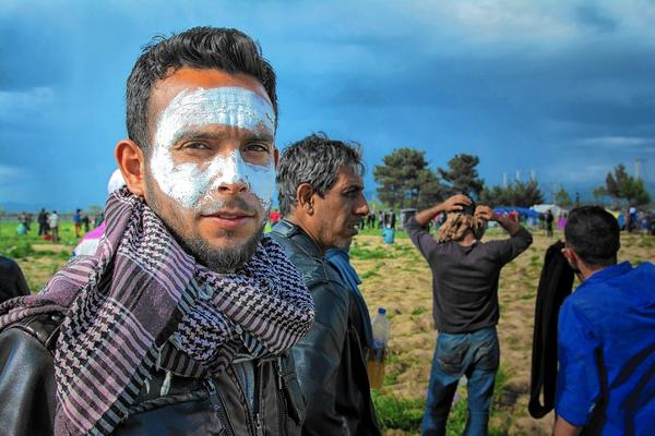 MUSTAFA ALHAMOUD, face coated in toothpaste, had pleaded with the Macedonians to open the border on April 10.