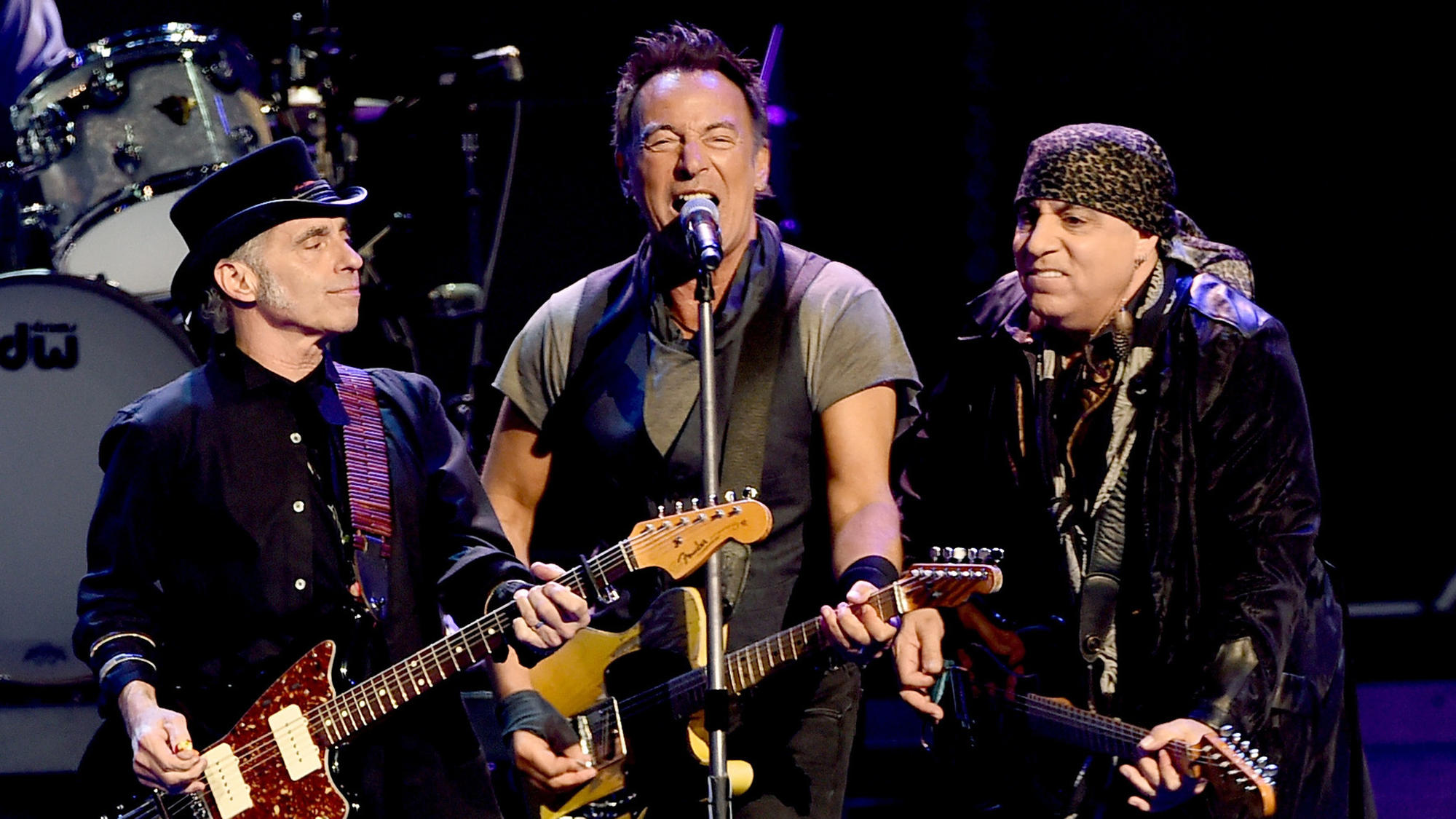 Nils Lofgren, left, Bruce Springsteen and Steven Van Zandt at the L.A. Sports Arena on March 15.