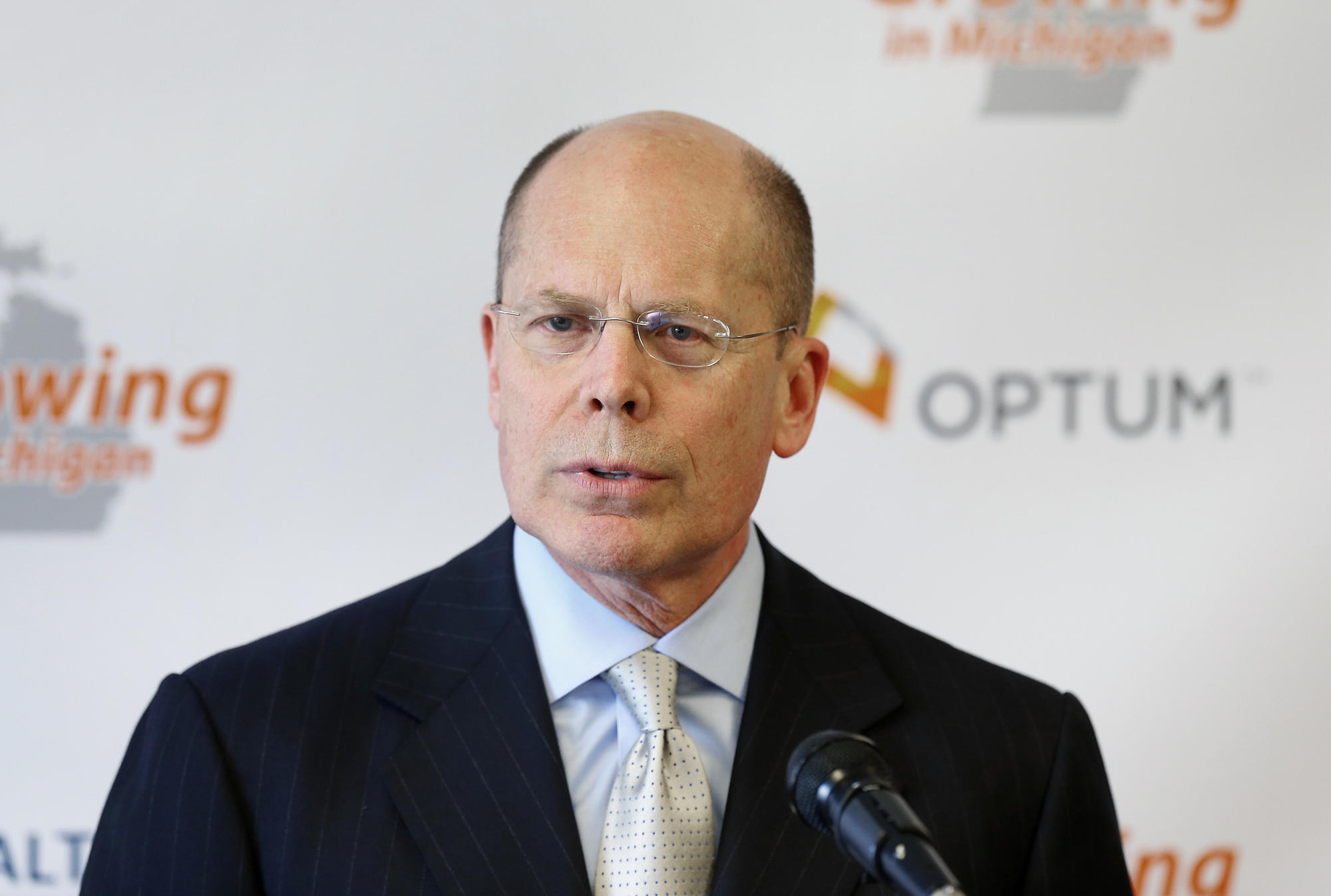 UnitedHealth CEO Stephen Hemsley, who announced Tuesday that his company will withdraw from ACA exchanges across the nation, seen here in 2014.