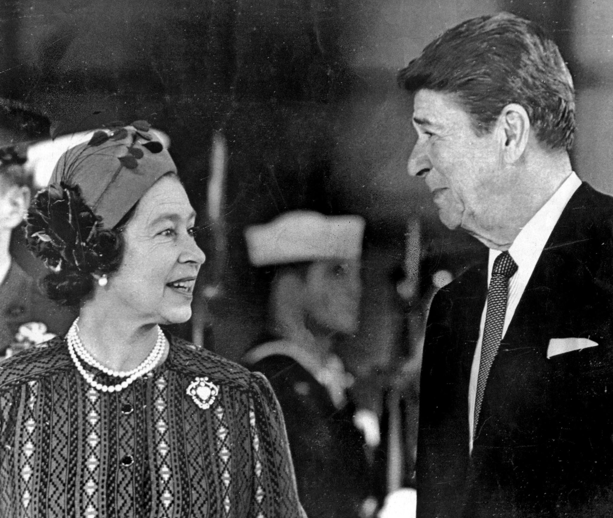 March 1, 1983: Queen Elizabeth II and President Ronald Reagan chat at Santa Barbara airport before a visit to the Reagans' hilltop ranch. This photo was published in the March 2, 1983, Los Angeles Times.