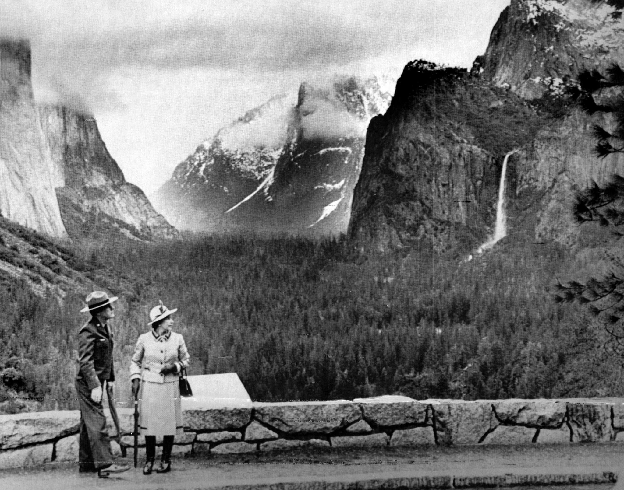 March 5, 1983: Queen Elizabeth II visits Yosemite National Park, accompanied by park superintendent Robert O. Binnewies. This photo was published in the March 6, 1983, Los Angeles Times.