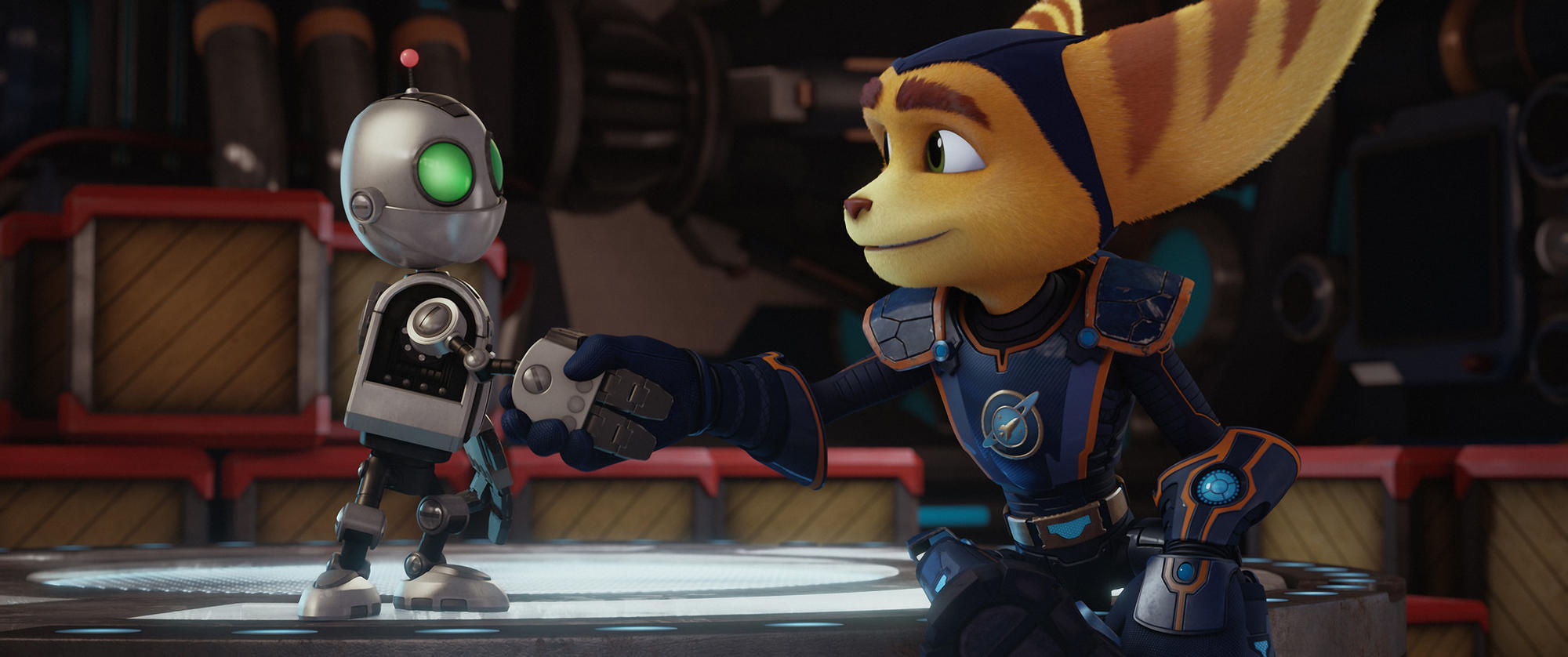 David Kaye stars as the voice of Clank, left, and James Arnold Taylor stars as the voice of Ratchet in